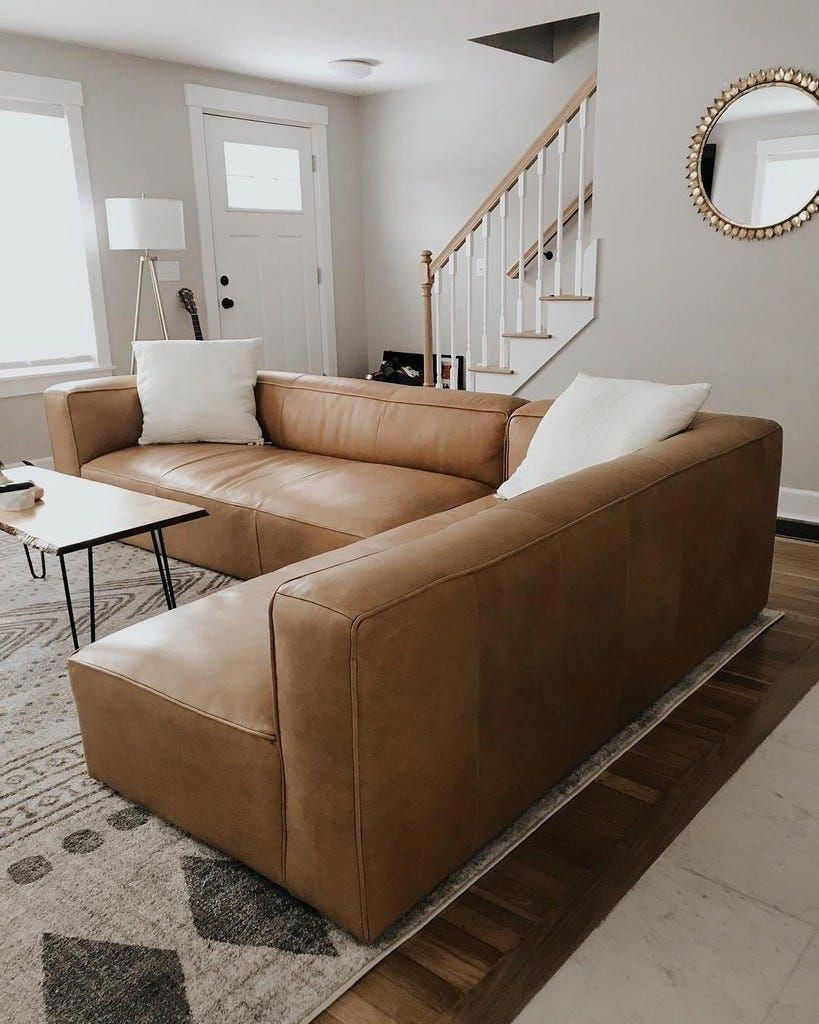 Mello Taos Tan Right Arm Corner Sectional Article Contemporarylivingroomdecorideas In 2020 Leather Sectional Living Room Brown Living Room Home Living Room