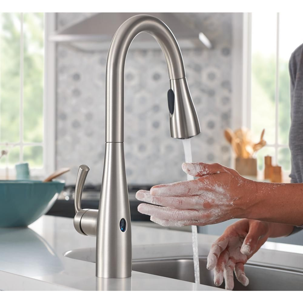Moen Essie Touchless Single Handle Pull Down Sprayer Kitchen Faucet With Motionsense Wave And Power Clean In Chrome 87014ewc The Home Depot Kitchen Faucet Touchless Kitchen Faucet Kitchen Faucets Pull Down