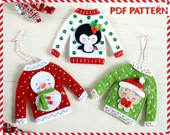 Christmas Ornaments PDF PATTERN: Woodland Christmas. Felt Christmas Ornaments pattern. Tree ornaments. Felt Christmas bauble #feltchristmasornaments