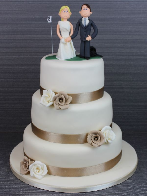 Beige and Ivory Roses Wedding Cake with Golf Cake Topper No. W1132 ...