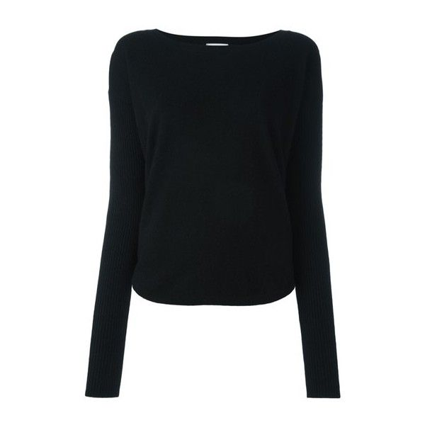 LE KASHA Crew Neck Jumper (€540) ❤ liked on Polyvore featuring tops, sweaters, black, crew neck tops, cashmere tops, crew-neck tops, crew sweater and jumper top