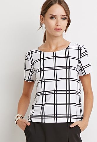Boxy Grid Print Top | Forever 21 - 2000131124