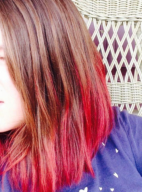 Red Dip Dye Medium Length Hair Dipped Hair Medium Length Hair Styles Hair Styles