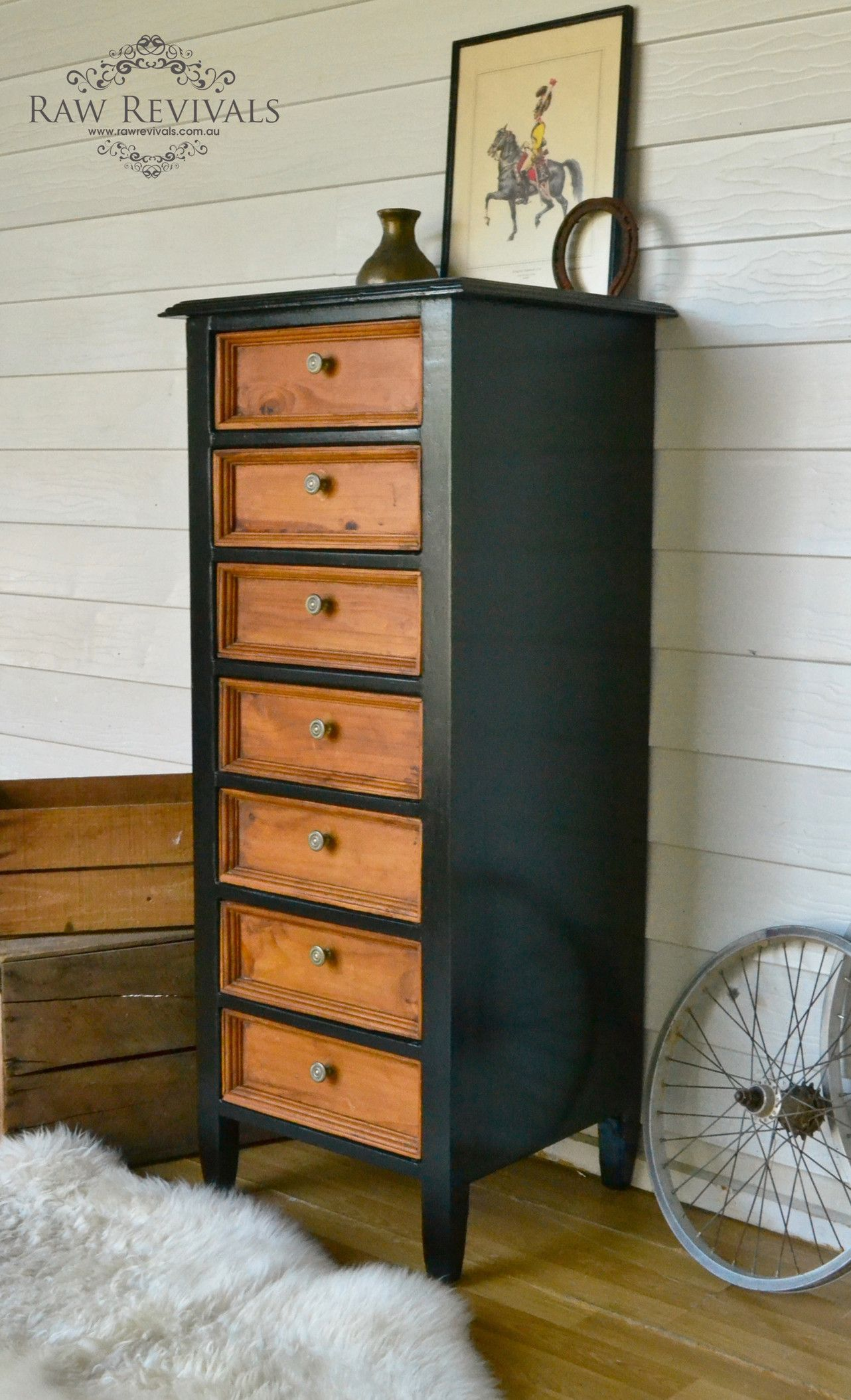 Best Rustic Slim Black And Timber Chest Of Drawers Tallboy 400 x 300