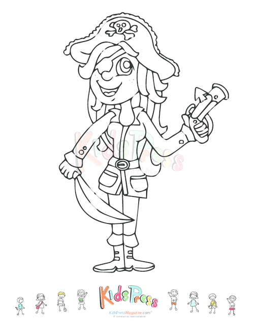 Printable Coloring Page – Girl Pirate | Free Time Coloring Pages ...