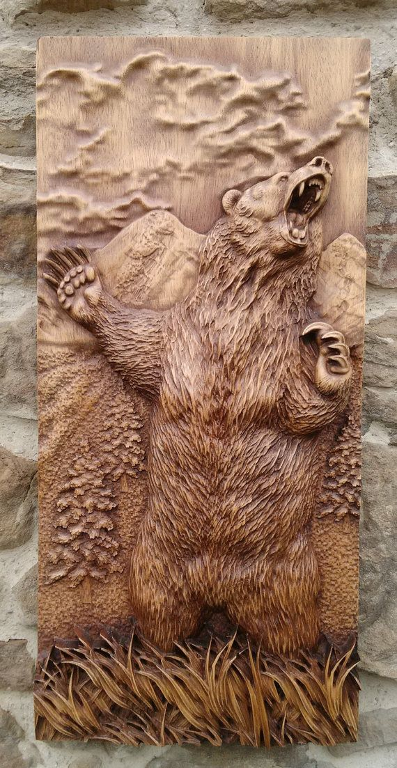 Animal Carved Bear Wood Wall Hanging Home Decor Woodwork