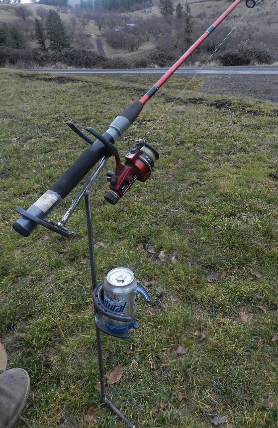 Fishing pole beverage holder made from by for Homemade fishing rod holders for bank fishing