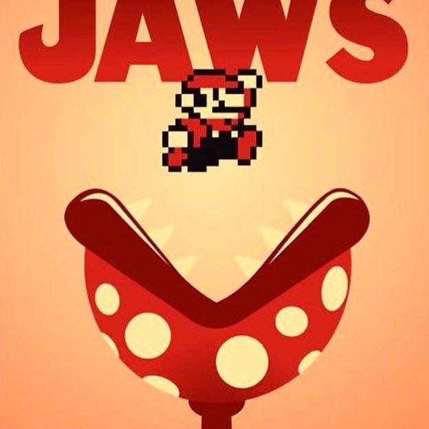 Comic Book Talk Show Podcast On Instagram Mario Jaws Mashup Game Movie Videogame Retrogaming Nes Snes Nintendo Mario And Luigi Mario Art Game Art