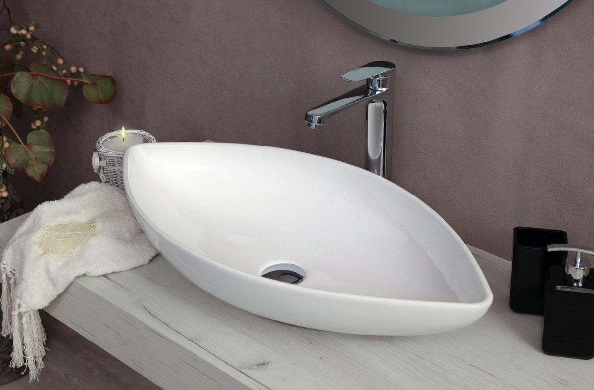 Lavabo da appoggio a goccia ovale squadrato in ceramica ...