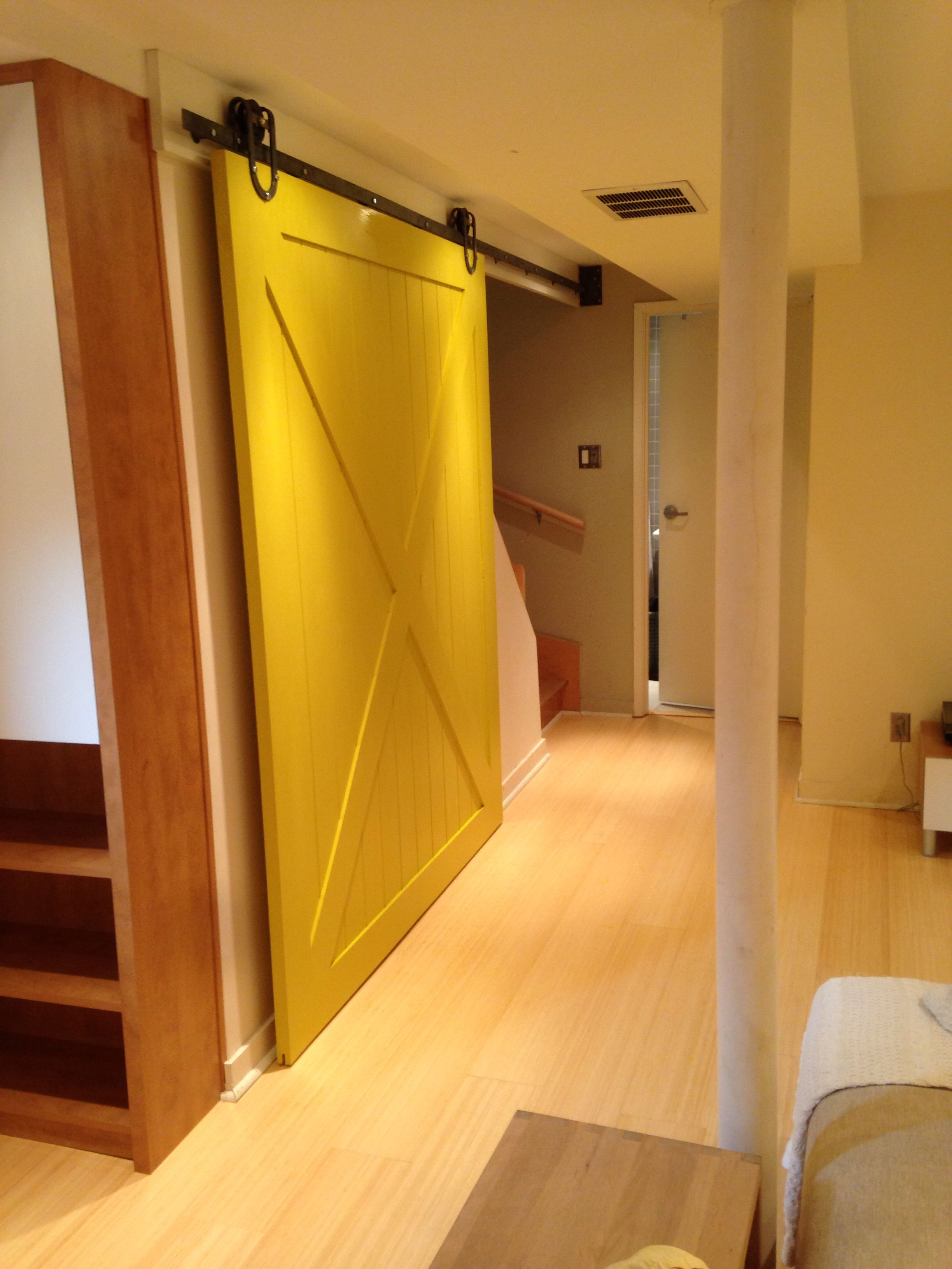 Massive Yellow Barn Door On A Horseshoe Barn Door Hardware To Give