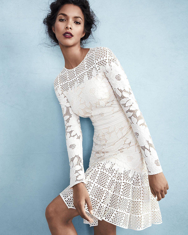 Tadashi Shoji Long Sleeve Mixed Media Dress Fashion Mixed Media Dress Little White Dresses [ 1500 x 1200 Pixel ]
