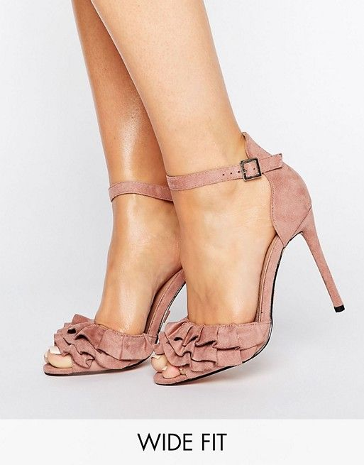 ff24ce12c1f Lost Ink Wide Fit Blush Ruffle Heeled Sandals