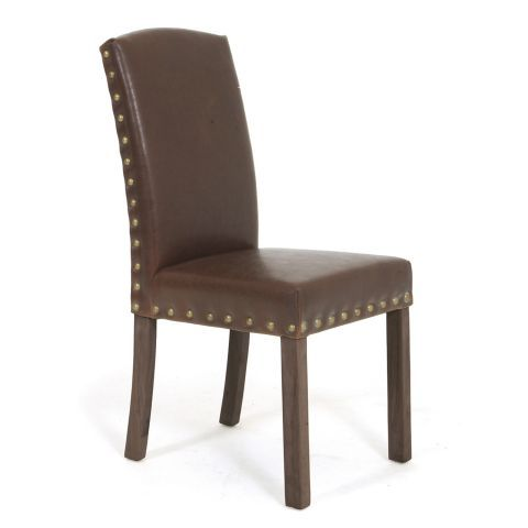 Dining Chairs Set Of 4 Target Revolving Chair Online Zocalo Brown Leather Studded A | Home Pinterest Leather, And ...