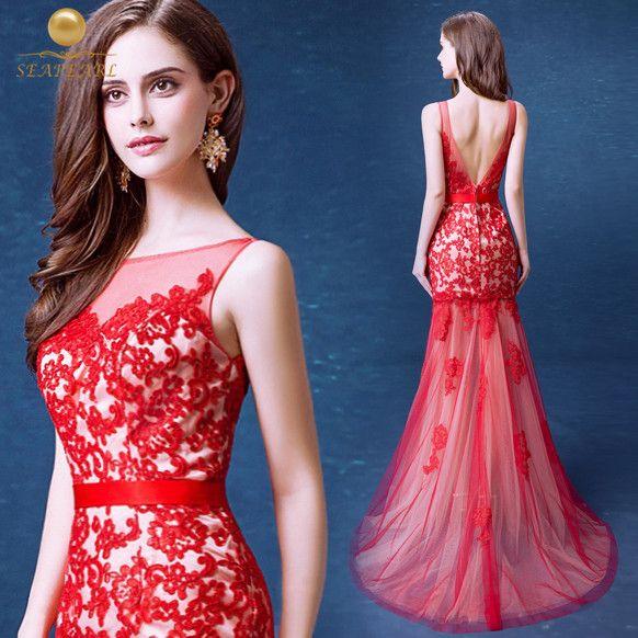 Vestidos-de-fiesta-largos-sirena-Vestidos-baile-2015-rojo-de-encaje ...