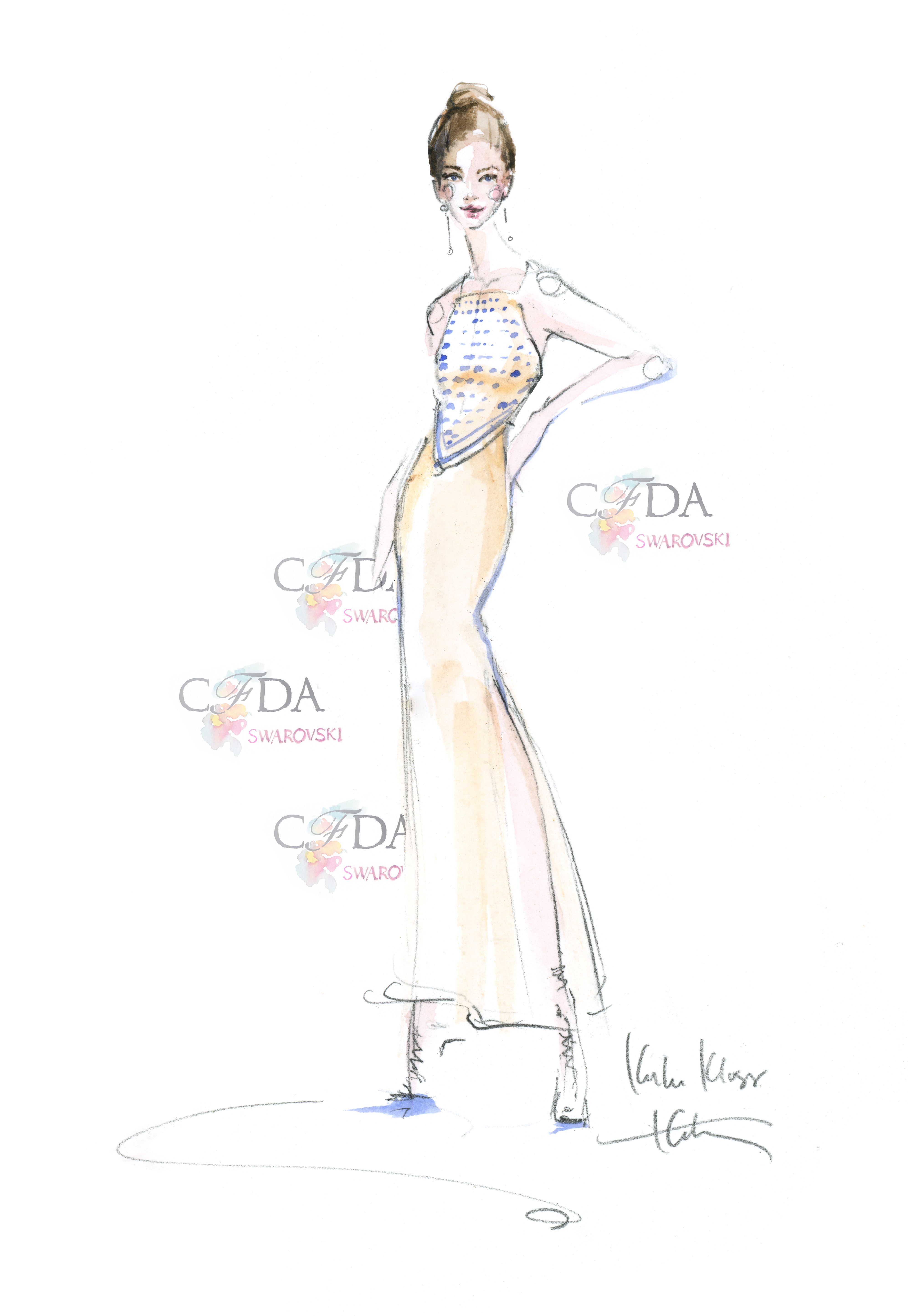 Karlie Kloss sketched by @Katie Hrubec Rodgers | Paper Fashion  #CFDAAwards #RedCarpet #CFDASwarovski