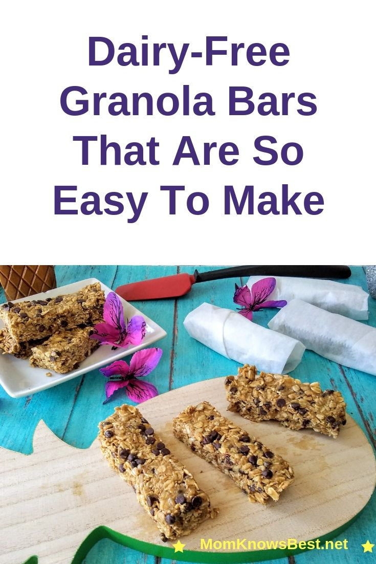 Easy No Bake Dairy Free Peanut butter Chocolate Granola Bars Once you discover how easy it is to make granola bars, you will never buy store bought ones again.