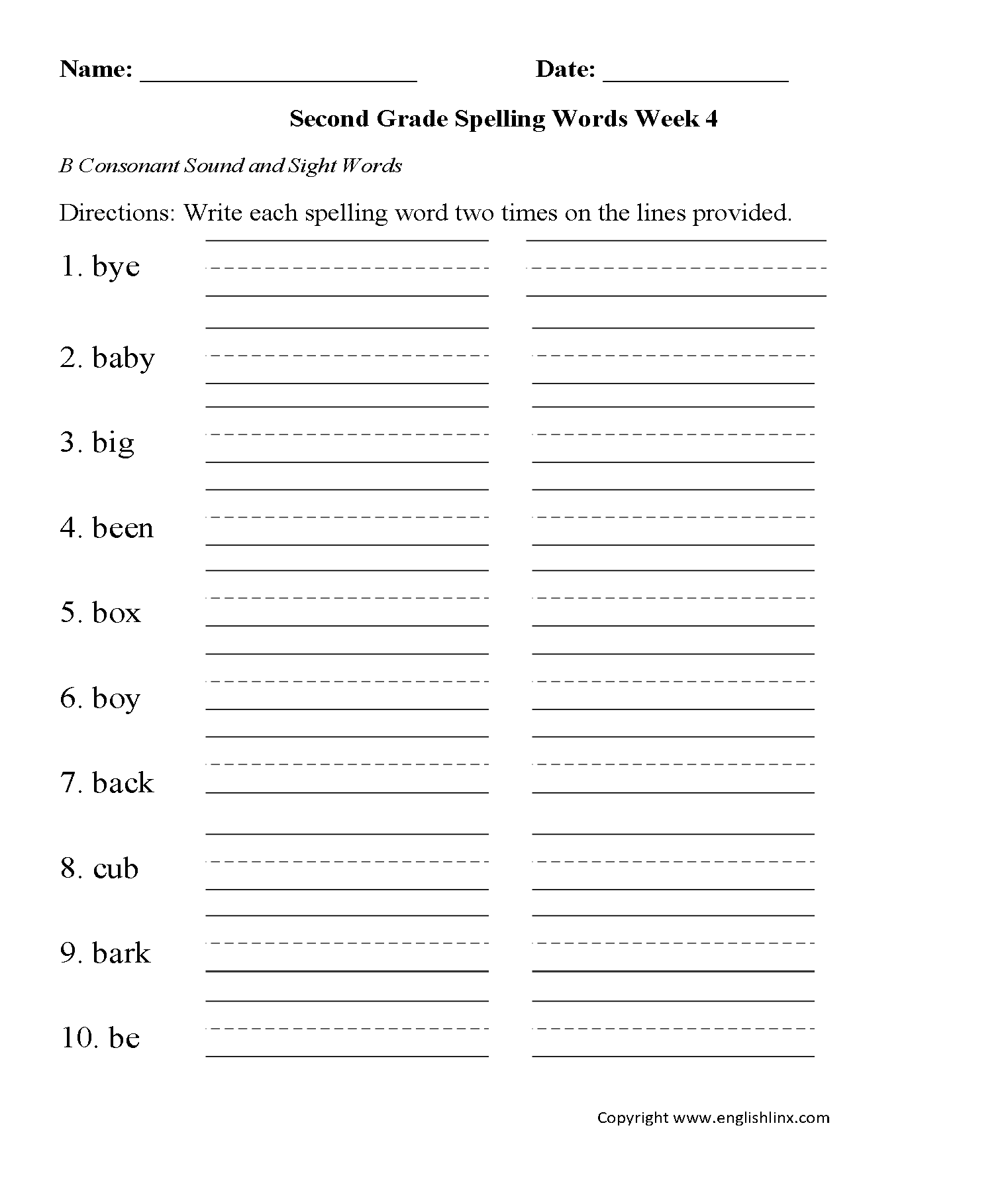 Week 4 B Consonant Second Grade Spelling Worksheets
