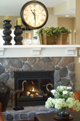how to decorate a fireplace mantel for spring - love the wooden