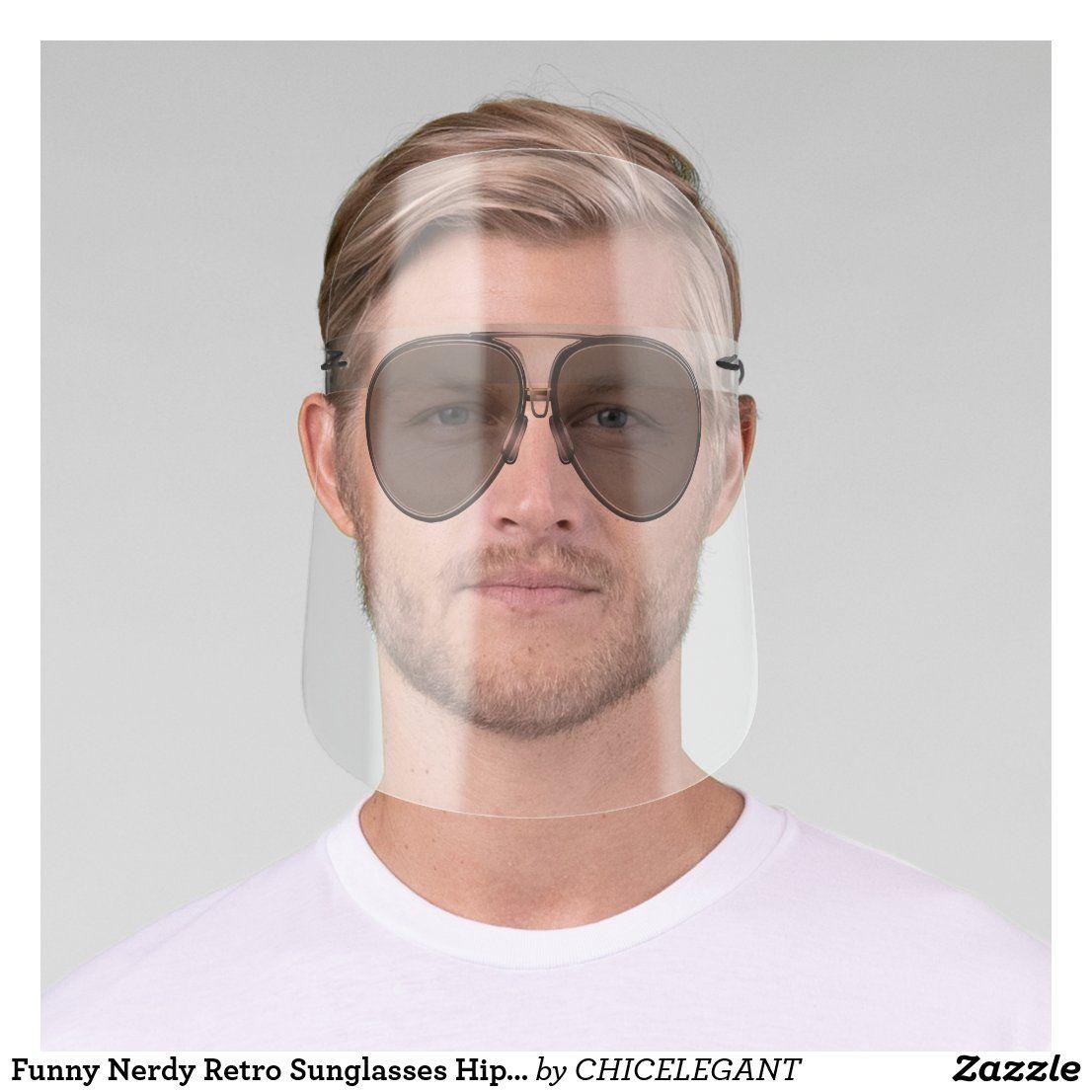 Funny Nerdy Retro Sunglasses Hipster Face Shield Zazzle