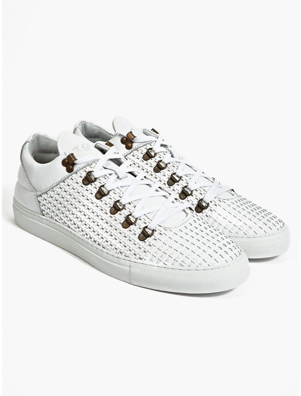 Filling Pieces Men's White Mountain Cut Woven Leather Sneakers | oki-ni