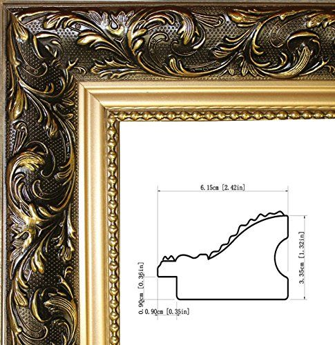 Craig Frames Galerie, Antique Gold and Black Picture Frame, 4 by 6 ...