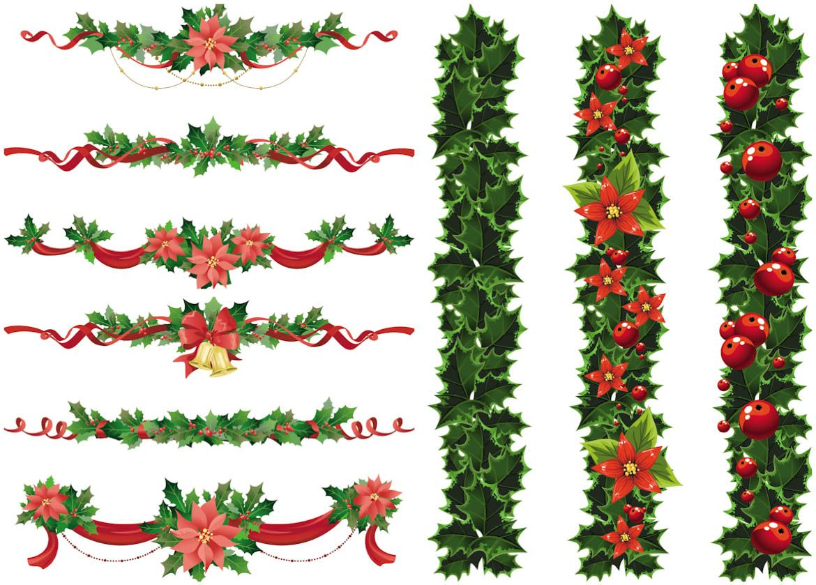 Christmas decorations clipart images - Set Of Vector Christmas Garland Templates With Red Ribbons And Bows Decorated With Christmas Holly And Holly Plant Leaves Can Be Used As Decorative Floral