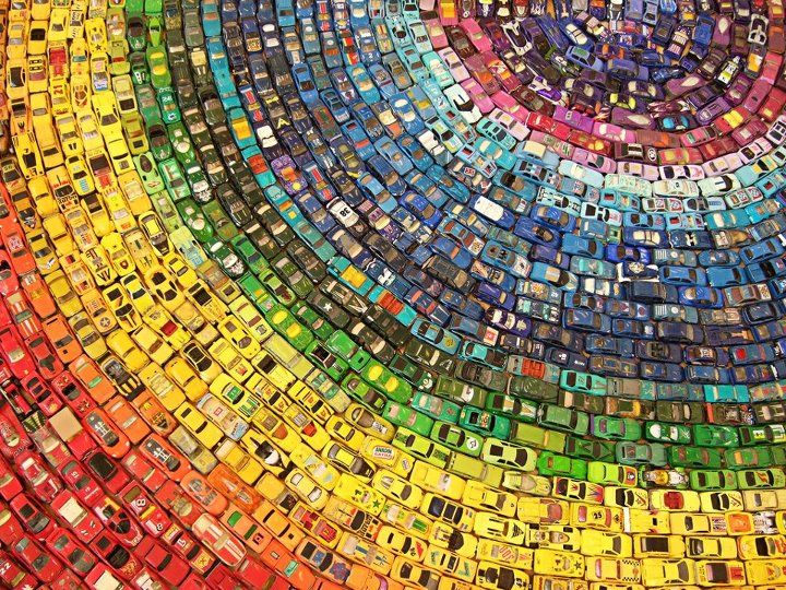 The Toy Rainbow  Wonderful installation made with 2,500 vintage toy cars by David T. Waller.