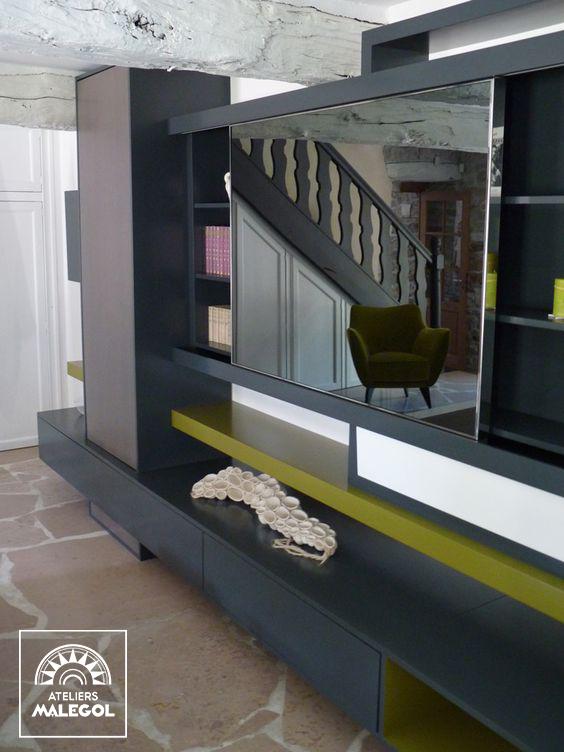 Composition Rangements Muraux Living Meuble Tv Ecran Tv Miroir Ad Notam Bibliotheque Design Contemporain Gris Meuble Mobilier De Salon Agencement Interieur