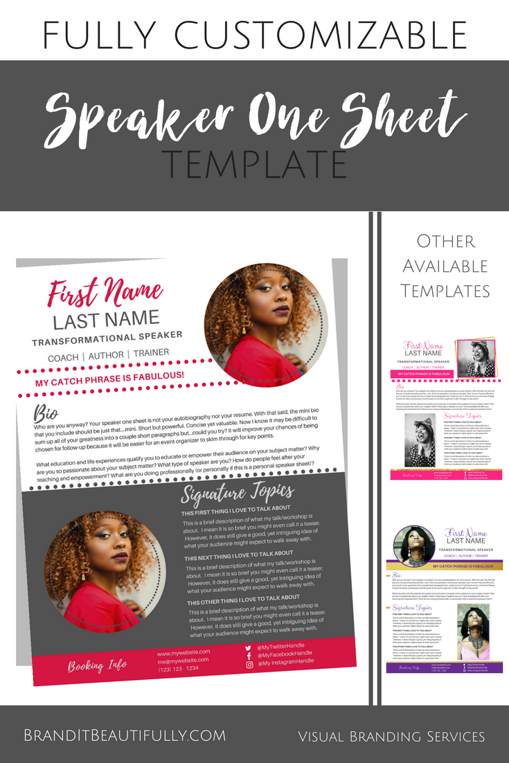 speaker one sheet template spicyred  canva  template