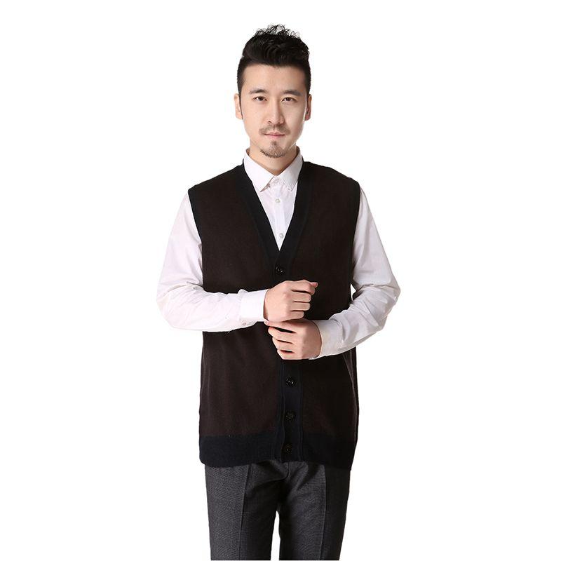 Spring Winter Men's Clothing sweater vest V neck button vest ...