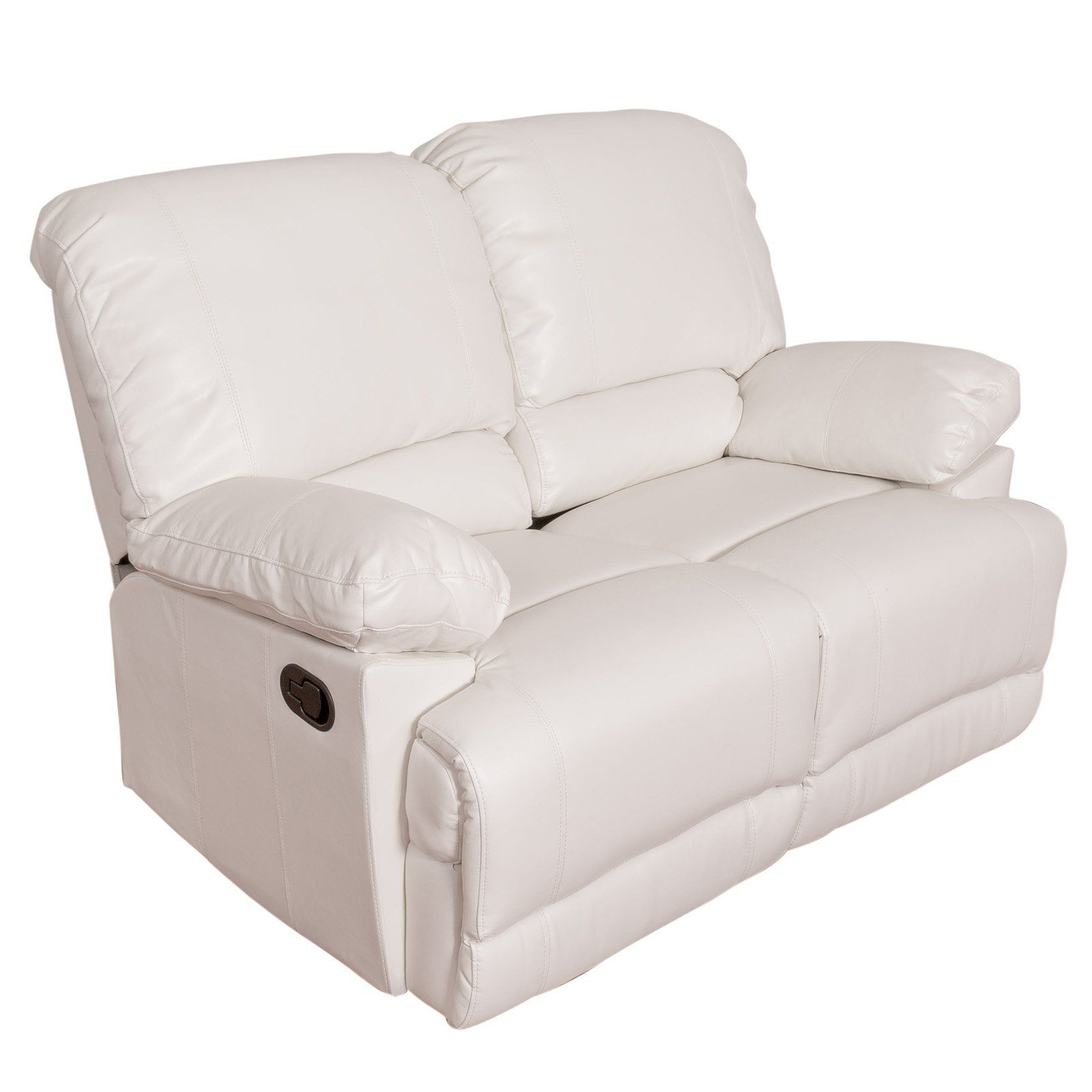 Astonishing Corliving Lea Bonded Leather Reclining Loveseat White Caraccident5 Cool Chair Designs And Ideas Caraccident5Info