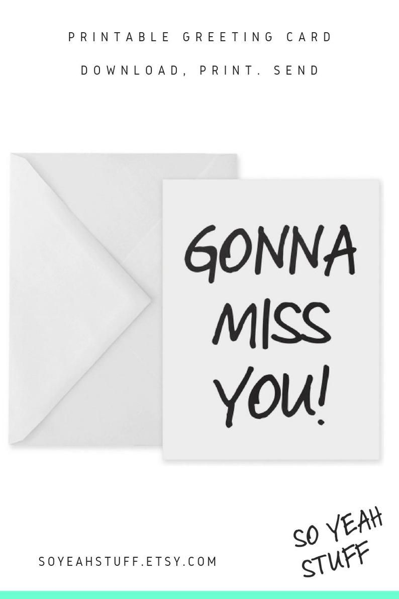 Simple Leaving Card New Job Card Miss You Card Printable