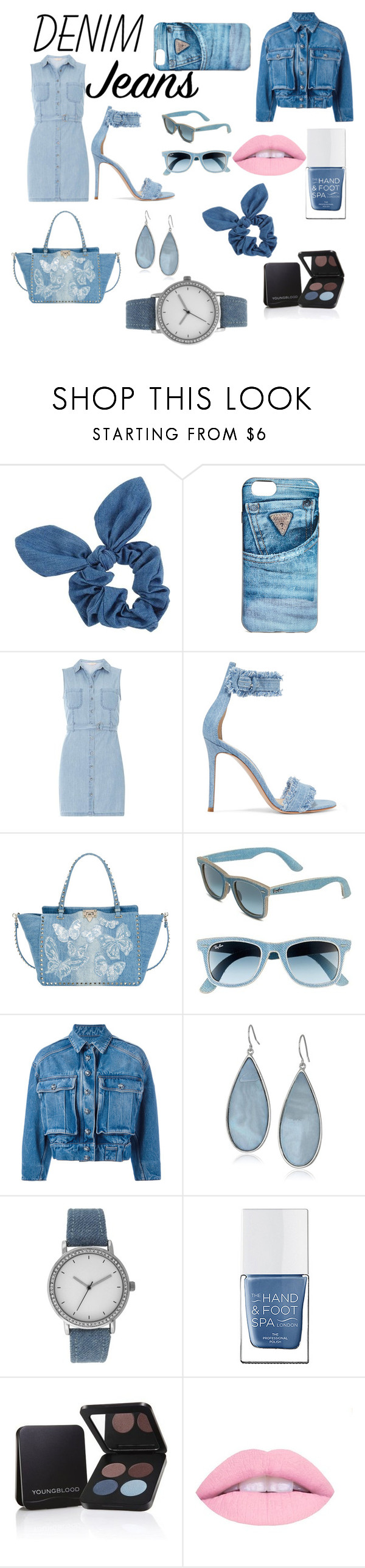 """""""Denim Days"""" by sydnikkiameandmaddie on Polyvore featuring Dorothy Perkins, GUESS, Gianvito Rossi, Valentino, Ray-Ban, Dolce&Gabbana, Kenneth Cole, A Classic Time Watch Co., The Hand & Foot Spa and Youngblood"""