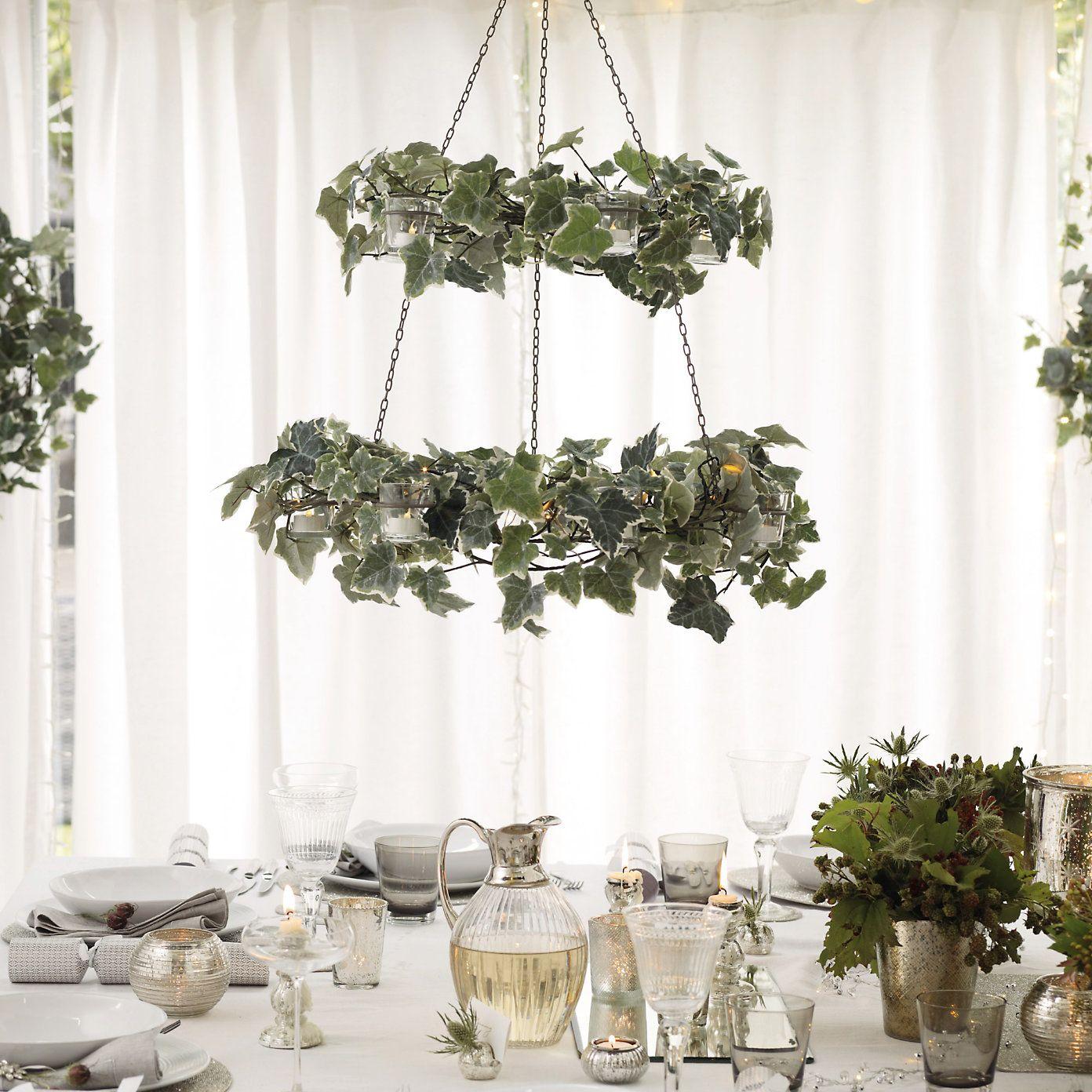 Hanging Ivy Tea Light Holders Hanging Christmas Lights Christmas Table Decorating With Christmas Lights