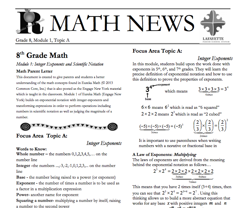 Grade 8, Module 1, Topic A parent newsletter developed by
