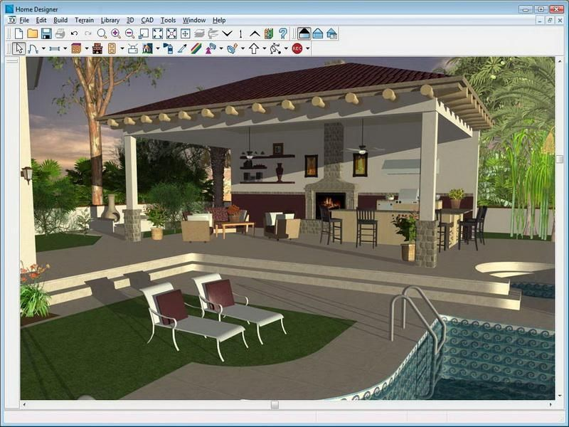 Outdoor kitchen drawing plans free virtual home design for Pool drawing software