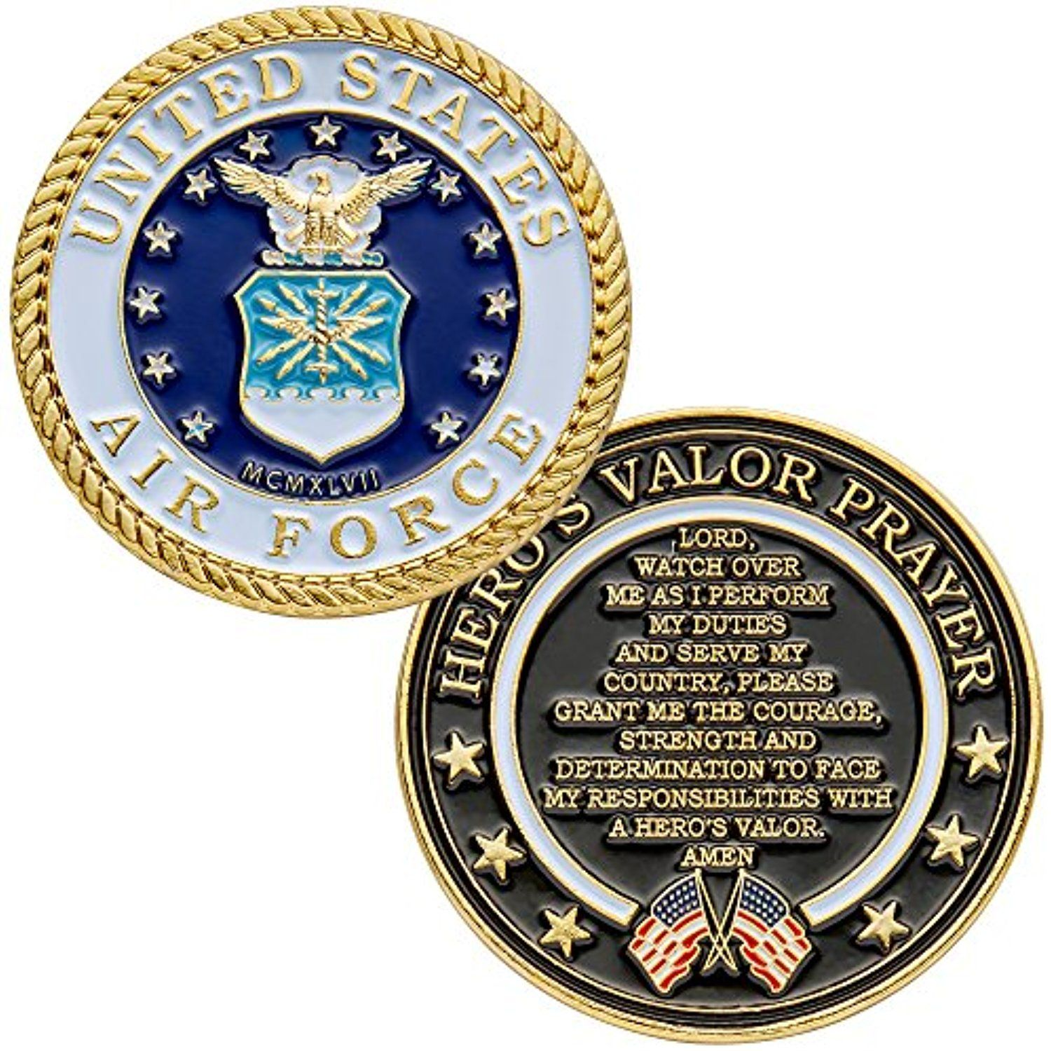 United States Air Force Challenge Coin with Hero's Valor