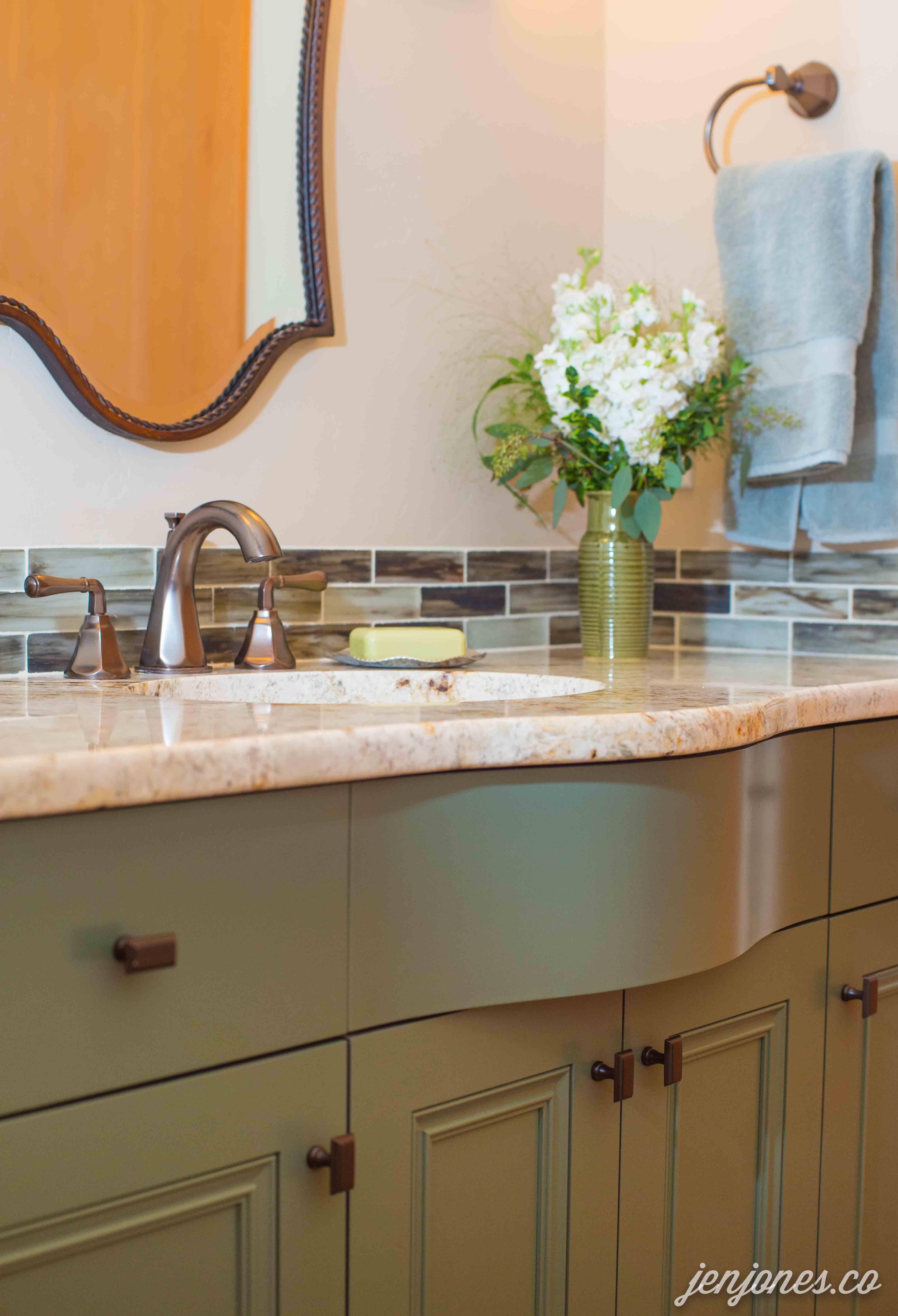 Custom vanity cabinet in benjamin moore caldwell green transitional