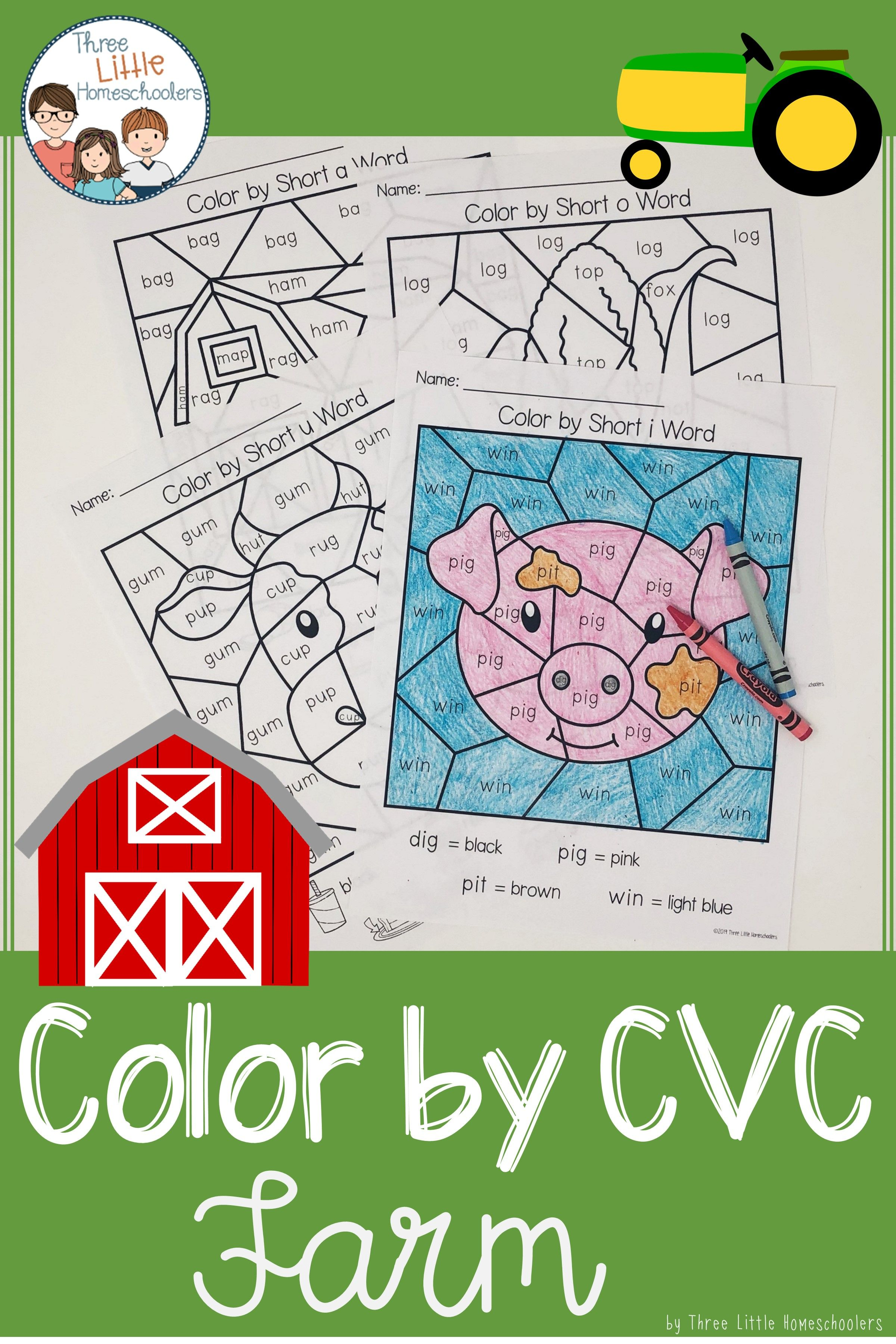 Farm Color By Cvc Word