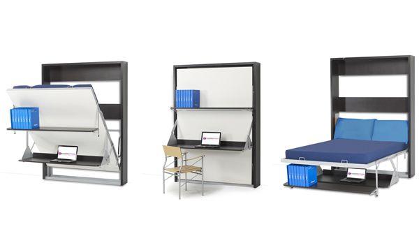 Solution de lit escamotable avec une version fermée et son bureau