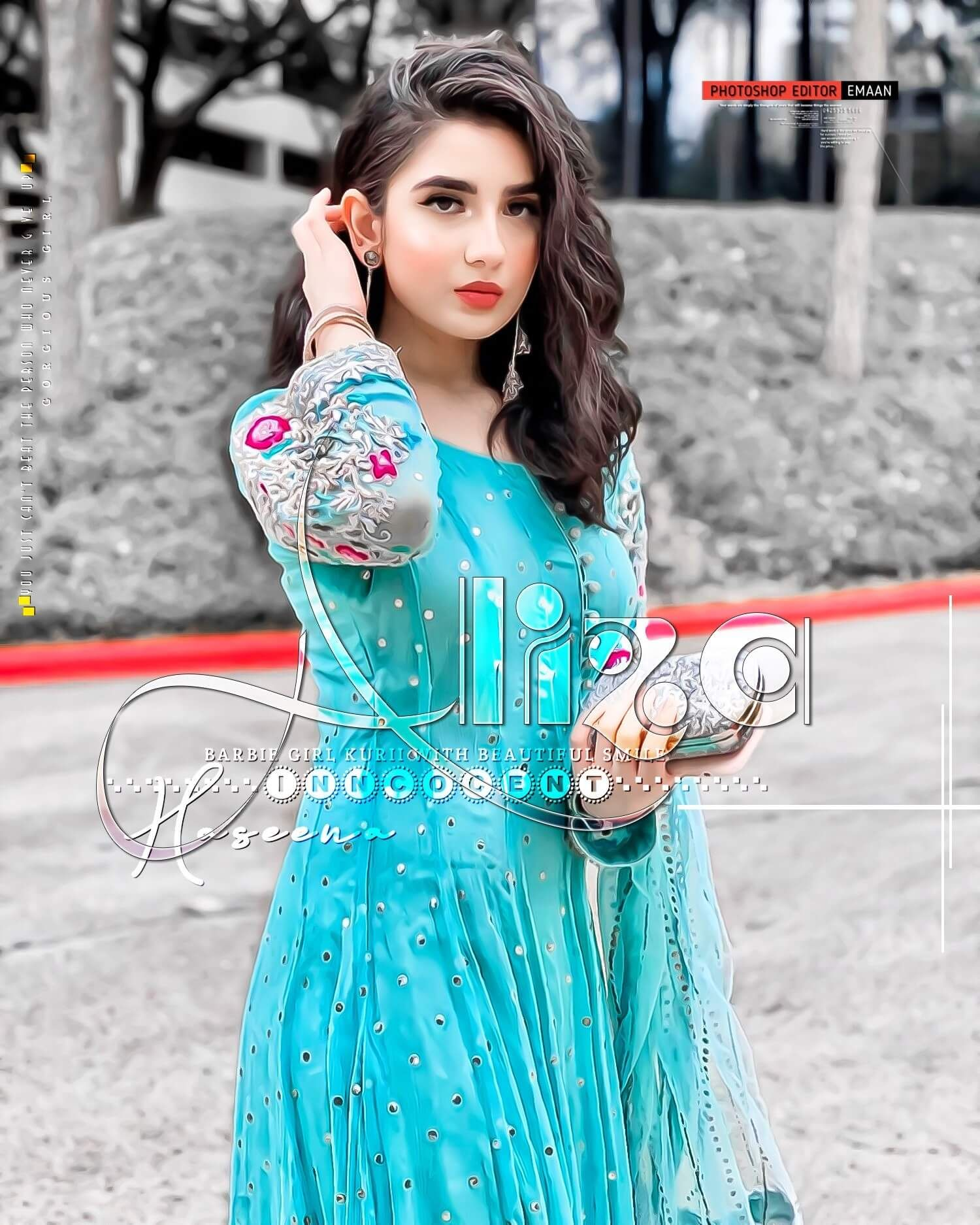Beautiful stylish girl in light blue dress dp and hd