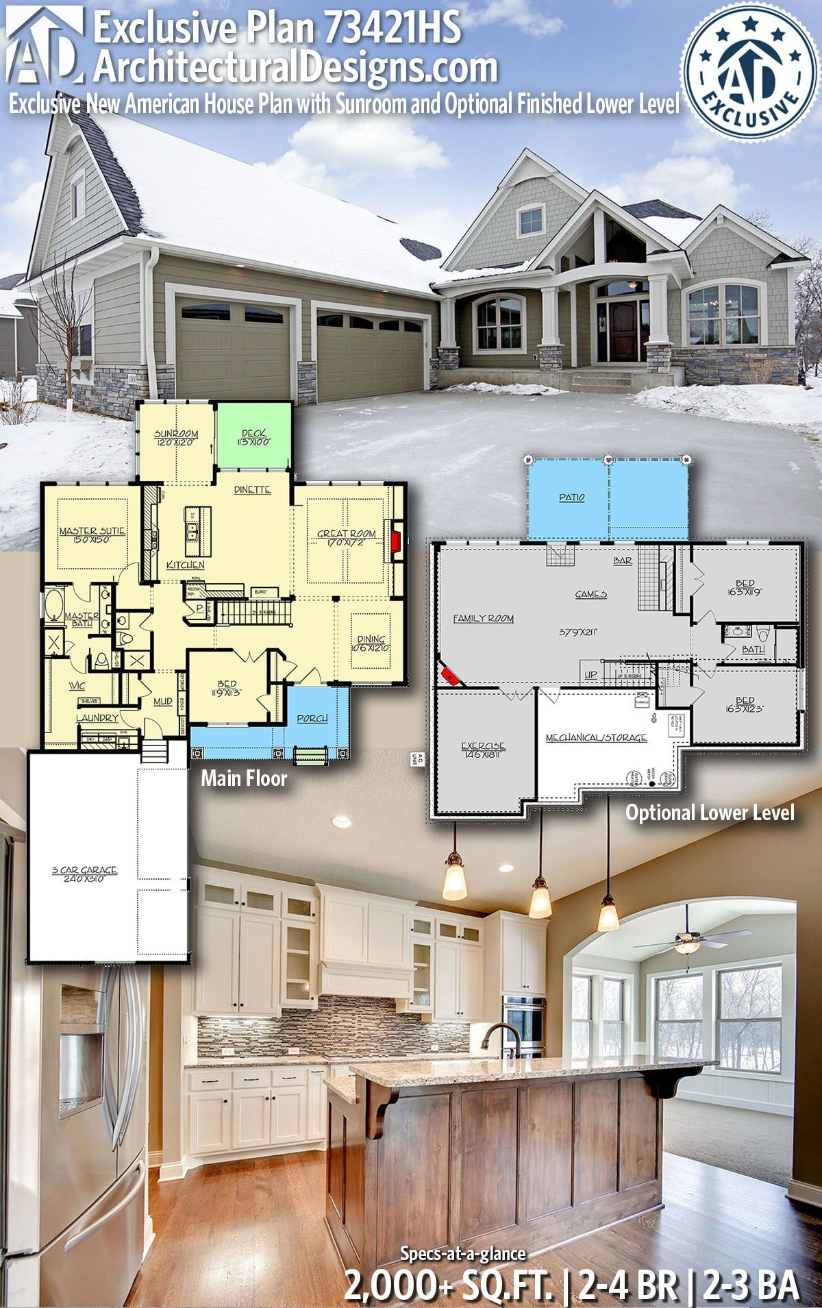 Architectural Designs New American Home Plan 73421hs Gives You 2 4