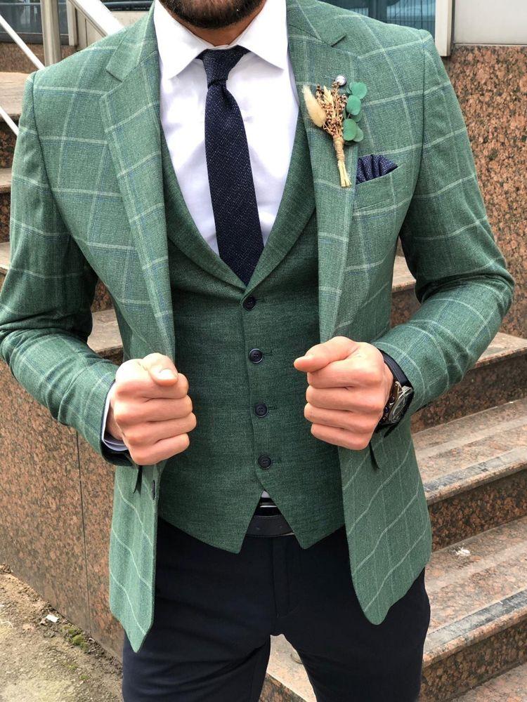 Slim-Fit Plaid Suit Vest Green