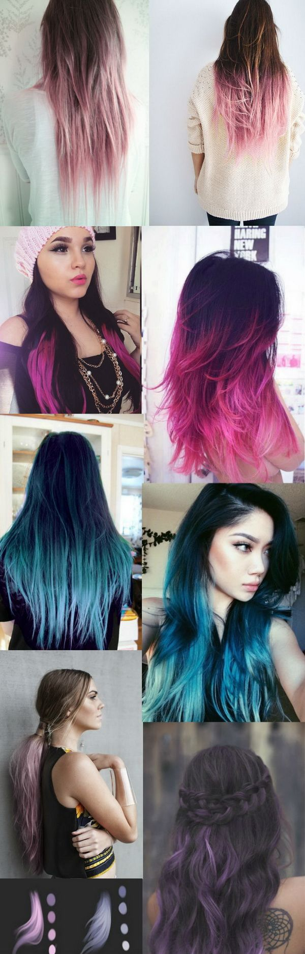 Dark black brown to pastel ombre hair color trends hair