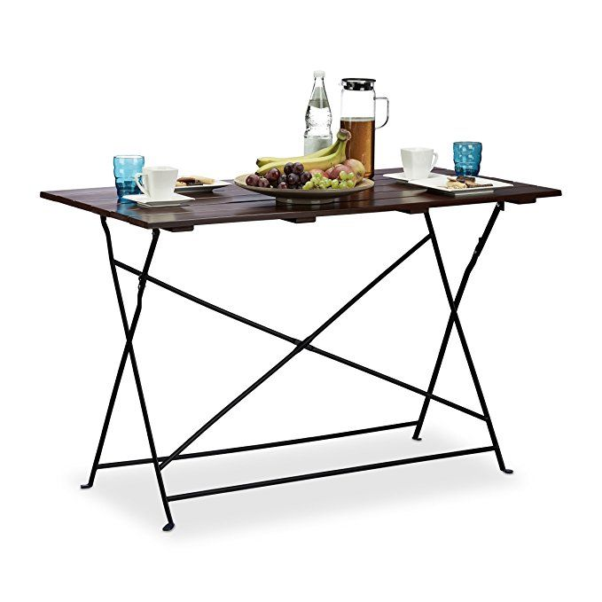 Relaxdays Table de jardin 120x60 cm pliante terrasse grande table ...