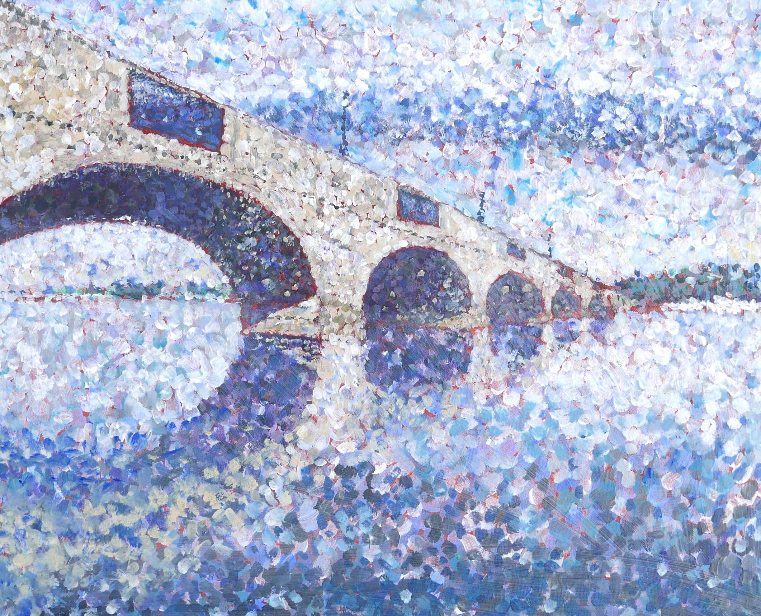 pointillist painting of Chertsey Bridge Chertsey
