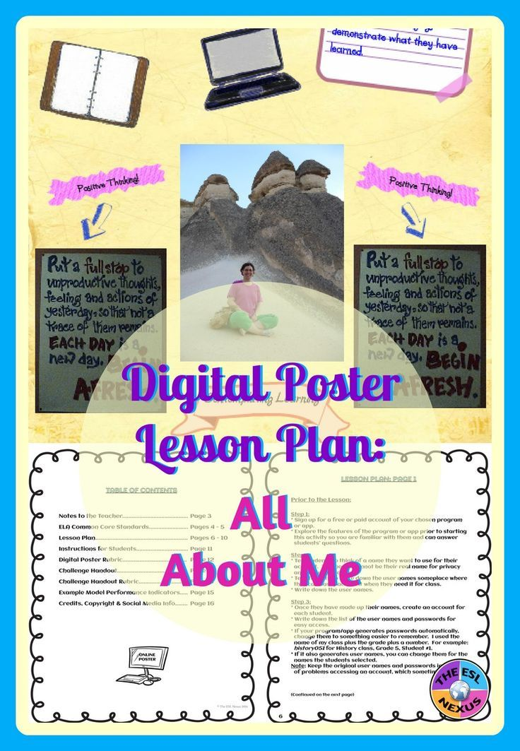 All About Me Back to School Digital Poster Lesson Plan | Online ...