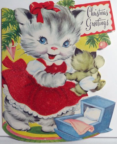 Vintage Christmas Greetings Mama Cat And Cute Diapered Baby Kitten