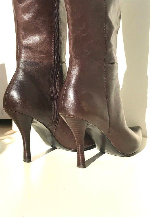 b55963d38d78 Black Leather w Gun Metal High Heel Clogs Mules    Size 8M US    Etienne  Aigner Buckle Closure Hardw