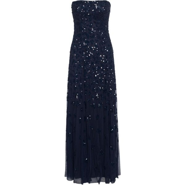 Young Couture By Barbara Schwarzer Corsage Sequin Midnight Bustier 375 Liked On Polyvore Feat Blue Sparkly Dress Blue Sequin Dress Sequin Maxi Dress